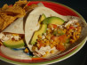 Shredded Chicken Tacos With Tomatoes and Grilled Corn. Recipe by weekend cooker
