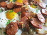 Spanish Fried Eggs With Potatoes and Chorizo (Huevos Fritos Con . Recipe by AlainaF