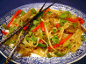 stir fried noodles with curried lamb. Recipe by chia