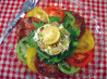 Heirloom Tomato Salad With Goat Cheese and Arugula. Recipe by Sue Lau