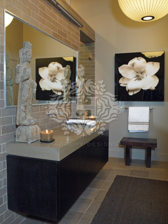 Luxurious Interior Design by Habachy Designs, Here is a bathroom that I designed that is very ZEN.  I wanted to feel spa like, so I kept all the colors neutral and monochromatic.  Also, I used all purist materials such as natural stone, concrete and wood., A view of my Bathroom in Habachy Designs office.  The cantilevered vanity was custom made from Wenge wood and cast concrete and has an integral ramp sink as a basin., Bathrooms Design