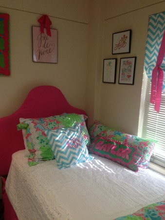 """The """"Lilly""""pad, Collins Dorm Baylor University, Monogrammed pillow, art by etsy shop Thimblepress, Dorm Rooms Design"""