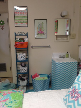 "The ""Lilly""pad, Collins Dorm Baylor University, Skirted sink, Dorm Rooms Design"