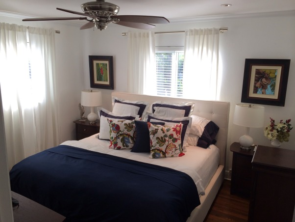 Island Retreat, Cozy Bedroom, Ralph Laurel Linens, Art work from Miami local artist., Bedrooms Design