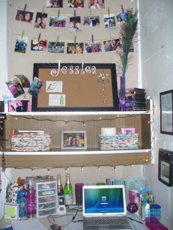 Jess' Vibrant Dorm Room, Jessica's freshman dorm room - wanted to make it something different from all the other cookie cutter college dorms & tried to make the small space my own with the limitations & all. Happy with the end result., Better view - both baskets on my shelf I fell in love with at TJ Maxx but are made from recycled magazines. I feel the christmas lights really added a homey feel to an almost sterile looking room., Dorm Rooms Design