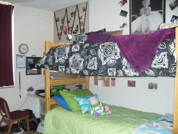 Jess' Vibrant Dorm Room, Jessica's freshman dorm room - wanted to make it something different from all the other cookie cutter college dorms & tried to make the small space my own with the limitations & all. Happy with the end result., We did decide to loft our beds to save space, the room felt very small but we made it work. You can see my roommate's desk beside our beds. The maroon curtain covering our window we couldn't replace due to dorm regulations., Dorm Rooms Design