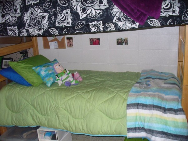 Jess' Vibrant Dorm Room, Jessica's freshman dorm room - wanted to make it something different from all the other cookie cutter college dorms & tried to make the small space my own with the limitations & all. Happy with the end result., Roomie's bed., Dorm Rooms Design