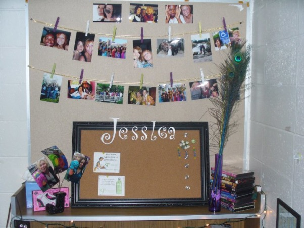 Jess' Vibrant Dorm Room, Jessica's freshman dorm room - wanted to make it something different from all the other cookie cutter college dorms & tried to make the small space my own with the limitations & all. Happy with the end result., Built in desk area was my favorite. I added a lot of my personality to it. The picture are hanging by clothes pins I painted to match the room on ribbon. Peacock feathers are from hobby lobby. The bulletin board was half DIY - I bought the framed board and painted my name for extra personalization., Dorm Rooms Design