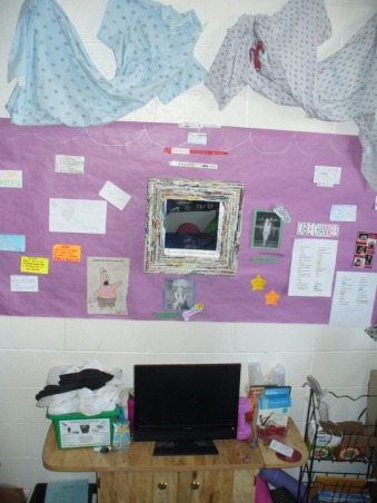 Jess' Vibrant Dorm Room, Jessica's freshman dorm room - wanted to make it something different from all the other cookie cutter college dorms & tried to make the small space my own with the limitations & all. Happy with the end result., Opposite wall. The purple paper my Mom found at a teacher supply store & my roomate and I had our friends and visits draw us pictures & write us notes to post and decorate with. The mirror is also from TJ Max, and matches my desk baskets. We put a small tv on a microwave cart my sister gave me. And used both the inside of the cart & wire magazine rack to the right as extra storage throughout the semester (mostly for food & snacks)., Dorm Rooms Design