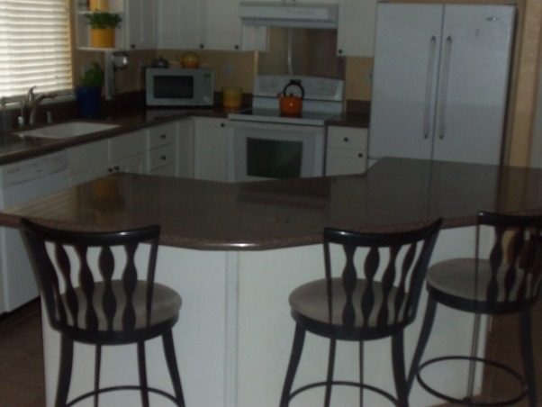 my spot of orange, My kitchen is decorated in white, with a brown crushed granite countertop., Kitchens Design