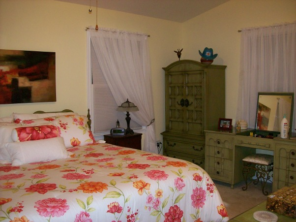 Beachy Master Bedroom, Furniture was Avocado Green stain from the 1960s.  Sanded, painted, and stresses all pieces.  My inspiration for the room were the lamps., The before picture of some of the avocado stained furniture.  Walls were a darker yellow as well, Bedrooms Design