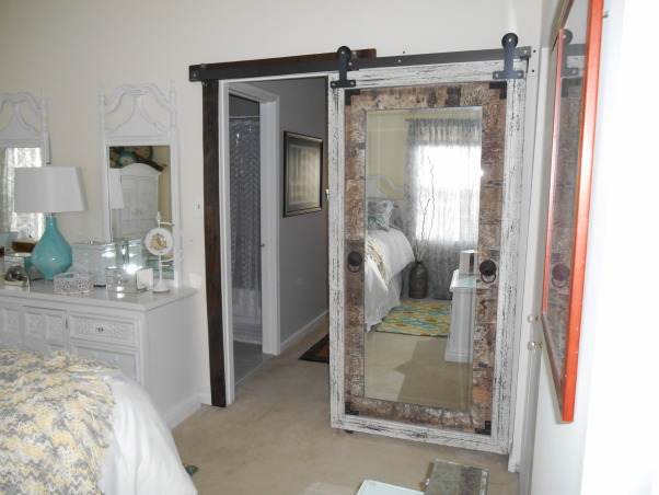 Beachy Master Bedroom, Furniture was Avocado Green stain from the 1960s.  Sanded, painted, and stresses all pieces.  My inspiration for the room were the lamps., I love this mirror and finally hung it as a bedroom door using barn door hardware.  Now it's a door and a full view mirror., Bedrooms Design