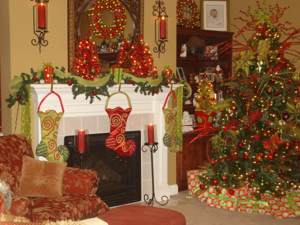 My Favorite Time of the Year, This is my living room all decorated for Christmas.  This year I went with the tradtional red and green modernized somewhat.  Let me know what you think.Hope each of you have a very blessed Christmas., Living Rooms Design