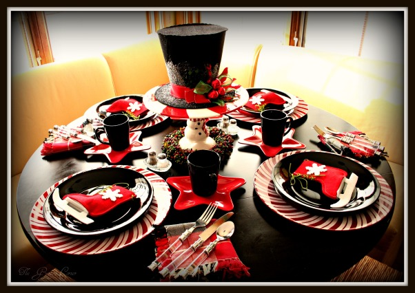 Christmas Top Hat Tablescape, This tables inspiration was the Tophat decoration that I found at my grocery store. most of the dishes were very budget friendly. The chargers I found last year after Christmas for $1 at the Christmastree Shop. The black dishes are afrom a set I bought at a Dollar store for $10. The star plates are plastic & along with the iceskate felt bags, which are giftcard holders, came from my local grocery store., Top Hat Tablescape in the Kitchen, Kitchens Design