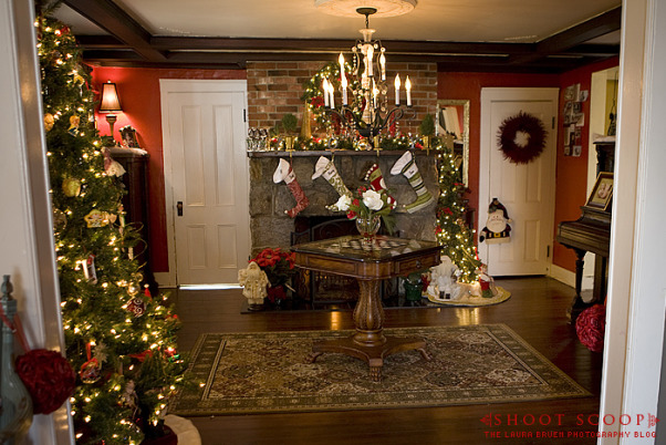 The Foyer at Christmas, Foyer of our 1856 Farm house, decorated for the holidays.   See more on my blog at http://www.shoot-scoop.com., Foyer  , Other Spaces Design