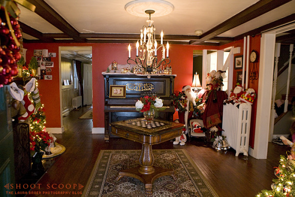 The Foyer at Christmas, Foyer of our 1856 Farm house, decorated for the holidays.   See more on my blog at http://www.shoot-scoop.com., Foyer entry view , Other Spaces Design