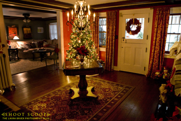 The Foyer at Christmas, Foyer of our 1856 Farm house, decorated for the holidays.   See more on my blog at http://www.shoot-scoop.com., Reverse , Other Spaces Design