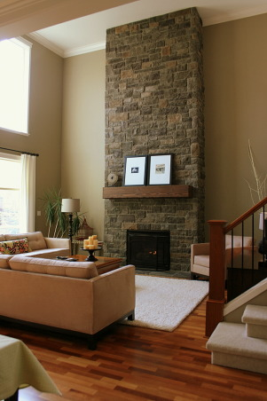 Warm Family Room - Repost, Our inviting family room, a great place to relax. Thanks HGTV, Angelo as well as Noah and Shelly for picking our room and fireplace as an inspiration room for your room makeover. I hope you are enjoying your gorgeous bedroom! Janell, We added crown molding , Living Rooms Design