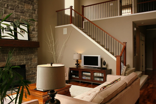 Warm Family Room - Repost, Our inviting family room, a great place to relax. Thanks HGTV, Angelo as well as Noah and Shelly for picking our room and fireplace as an inspiration room for your room makeover. I hope you are enjoying your gorgeous bedroom! Janell, Great place to watch my favorite HGTV shows!, Living Rooms Design