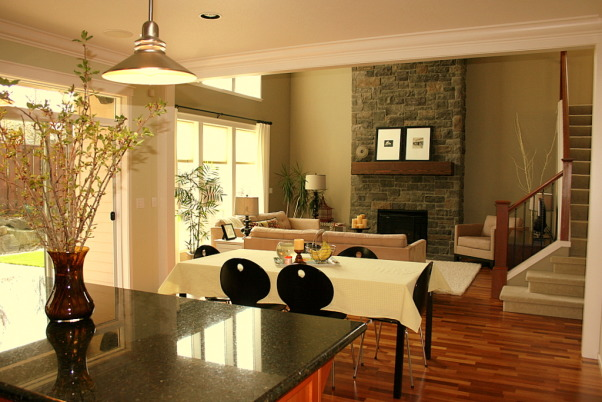 Warm Family Room - Repost, Our inviting family room, a great place to relax. Thanks HGTV, Angelo as well as Noah and Shelly for picking our room and fireplace as an inspiration room for your room makeover. I hope you are enjoying your gorgeous bedroom! Janell, View from the kitchen, Living Rooms Design