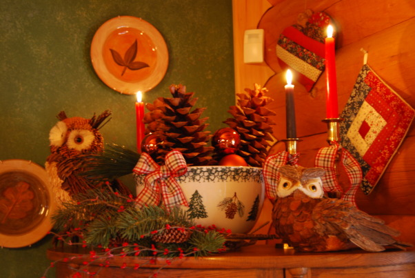 Log Home Christmas Tour, Welcome! Come on in and let me take your coat (hugs)! Would you like a cup of hot cocoa or coffee? Let's step into the great room by the fire and catch up with each other! Merry Christmas!, More owls. I told you I love them. These owls sit atop my china cabinet that my Dad made for me many years ago. The large popcorn bowl is filled with large sugar pine cones and more bronze colored balls.         , Holidays Design