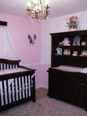 "Her Majesty Carolina's Room, Well, as a pageant designer and mother of 5 boys I am finally getting my little Princess!!  Her room is what I call ""Classic Victorian"" and is as pink as possible ;)  I promised my husband that I would stay within our budget and to his surprise I did very well.  Other than the furniture (which was a hand-me-down from her 18 month old brother) her entire room cost us under $400 to complete!  , Nurseries Design"