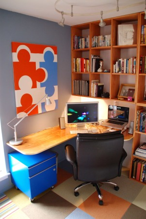 8 x 10 Home Office, Small room converted into a nice home office., Everything here was built myself or came from Ikea.  Which means I had to build it too.  , Home Offices Design
