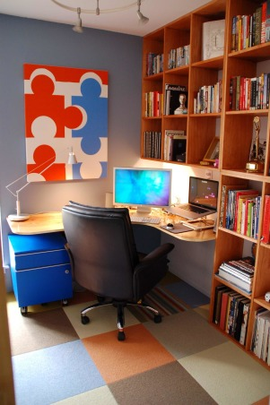 8 x 10 Home Office, Small room converted into a nice home office., My new office features a homemade birch plywood desk and floor-to-ceiling shelves.  , Home Offices Design