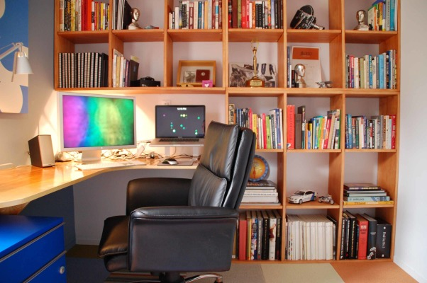 8 x 10 Home Office, Small room converted into a nice home office., The shelves give the room the illusion of height.  , Home Offices Design