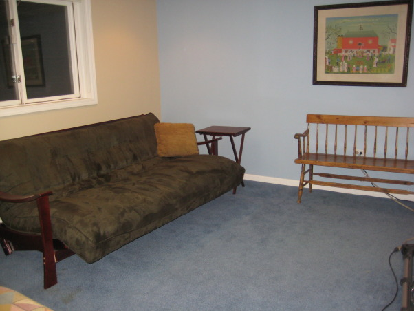 Ugly Basement, We have greeat space, but it needs to be updated to a fun and cozy entertainment lounge. It has a small bar area, as well as several closets and a bathroom. The space has no heat so it is often very chilly down there. What would be the best way to upgrade this space? We use it for exercising and watching TV., Futon bed in the left corner of the lower level , Basements Design
