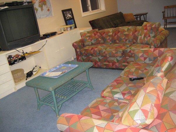 Ugly Basement, We have greeat space, but it needs to be updated to a fun and cozy entertainment lounge. It has a small bar area, as well as several closets and a bathroom. The space has no heat so it is often very chilly down there. What would be the best way to upgrade this space? We use it for exercising and watching TV., Couches in the TV section of the basement , Basements Design