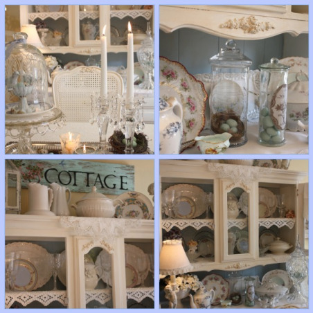 Shabby Chic Dining Room, After I took all my Christmas decorations down I was ready for a softer look in my dining room so I shopped around the other rooms in my home and redecorated my hutch!, Dining Rooms Design