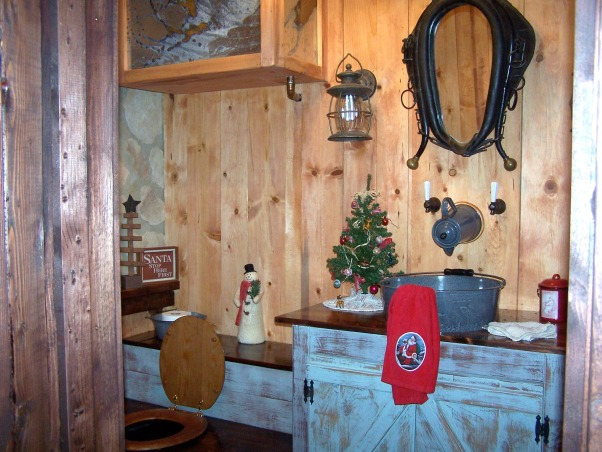 Rustic Outhouse bathroom, Thought outhouses were a thing of the past. Not any more. ... This is my sister's bathroom in her basement. Takes you back in time, only with some modern conviences. Thank goodness.. , Bathrooms Design