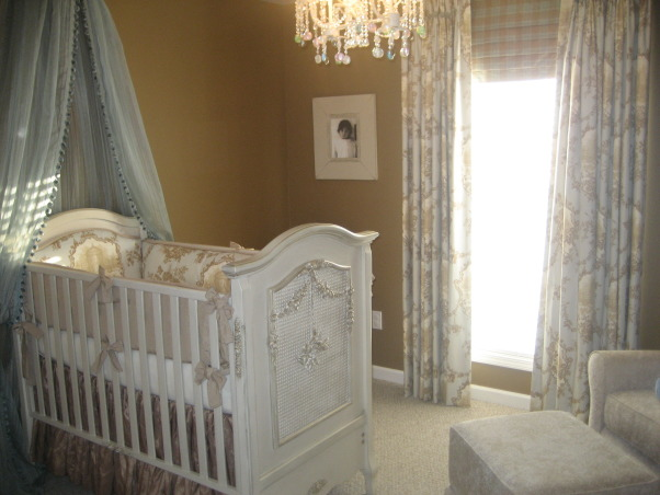 French Toile Nursery, I created a tranquil, serene nursery for our upcoming baby boy. I used antique blues, grays and browns, with versailles tea stain furniture and toile drapery and bedding., This is the view seen when you walk into the nursery. , Nurseries Design