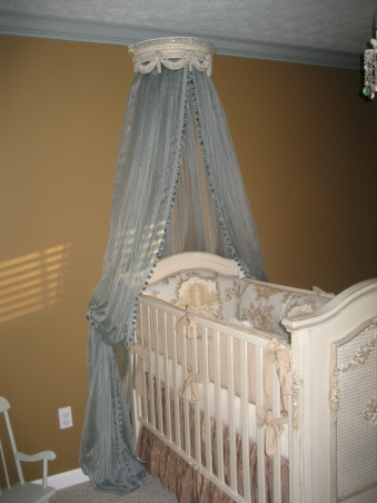 French Toile Nursery, I created a tranquil, serene nursery for our upcoming baby boy. I used antique blues, grays and browns, with versailles tea stain furniture and toile drapery and bedding., I put a crown over his crib with sheers draping down. , Nurseries Design