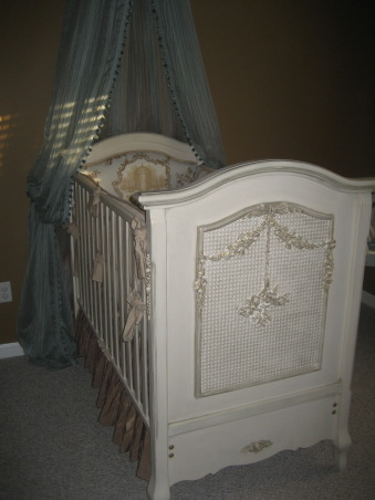 French Toile Nursery, I created a tranquil, serene nursery for our upcoming baby boy. I used antique blues, grays and browns, with versailles tea stain furniture and toile drapery and bedding., This is his custom versailles, tea stain crib , Nurseries Design