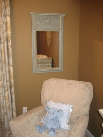 French Toile Nursery, I created a tranquil, serene nursery for our upcoming baby boy. I used antique blues, grays and browns, with versailles tea stain furniture and toile drapery and bedding., I found this mirror and it coordinated very well with the colors. And I had my glider and ottomen custom made. , Nurseries Design