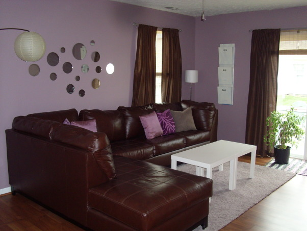 Ikea Brown/Purple Retro Living Room, My purple living room on a budget!  I bought the mirrors at a craft store for very cheap.  My coffee table is from a thrift store.  I splurged on the leather sectional.  , Living Rooms Design