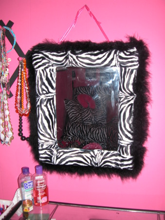 HOT Pink With Zebra Print , My 11 year old daughters new room. I am not a professional sewer or painter but I like to try.. I love to re use stuff we already have, so I re painted my daughter name, it was so much easier than I thought it would be. I also painted her pencil holder. I recovered her picture and chalkboard, mirror and trash can. I am new to all this sewing stuff so I really think the window covers turned out really good for me.... her room was already hot pink so I made long black drapes to brake up the pinks. I used hot pink and zebra to make the middle. To make sure the zebra panels came out even i made it as one then cut it in half... My daughter had a full size poster bed, but she wanted a futon bed whichwe found at Walmart for 129.00. I found the bedding online it is so soft and came with through pillows we just love it  I found a hot pink zebra clock, phone cover, switch cover and a zebra lap top skin on ebay....  My daughter new we were re doing her room for Christmas, but she had no idea what it was going to look like until Christmas.... we kicked her out of her room for two days so we could put it all together... she was so excited.....now she had her new pre teen room   , Girls' Rooms Design