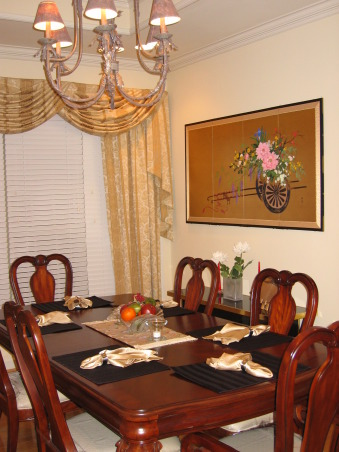 A Traditional Dining Room with Modern Elegance, Our dining room is located immediately to the left as you enter our house.  As you turn towards the room, an open door connects it to the kitchen, and a set of double doors lead to a den., A Japanese screen is on the right wall., Dining Rooms Design