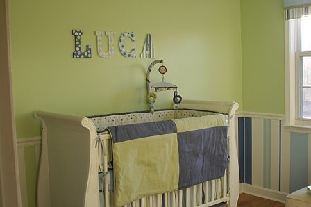 "Bright & Cheerful Baby Boy Room, Baby Boy Nursery with hand-painted stripes on the wall in lime green, light blue, dark blue and white, This is the ""before"" picture before we added the shelves. , Nurseries Design"