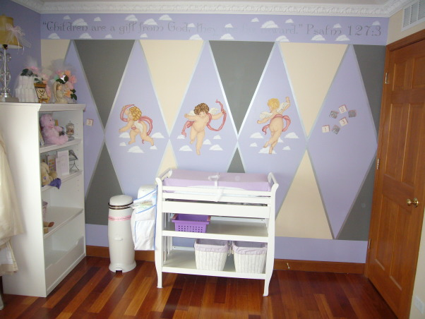 Baby Angel Room, Angel Themed nursery with periwinke, yellow, grey & white colors with silver as accent color.  Two walls have three angels stenciled on the middle of the walls. Round crib in corner of room and full open wings above window and closet., Angel themed nursery has three stenciled angels on this wall with our changing table in the middle of the wall and bookcase and the corner wall next to window., Nurseries Design