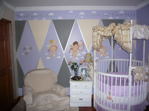 Baby Angel Room, Angel Themed nursery with periwinke, yellow, grey & white colors with silver as accent color.  Two walls have three angels stenciled on the middle of the walls. Round crib in corner of room and full open wings above window and closet., Angel themed nursery has three stenciled angels on this wall with our round crib in the corner and a very comfy polka dot rocker and stool.  , Nurseries Design