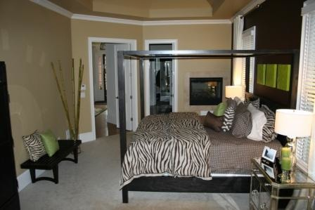 Elegant, Sexy Master Suite, I wanted our master bedroom to be a place where we could escape from the rest of the house, relax and curl up with a good book. I also wanted it to feel fun and contemporary. Even though the room is a dark color, during the day the windows bring in a lot of natural sunlight and at night it feels very warm and cozy... perfect for snuggling up by the fire!, Bedrooms Design