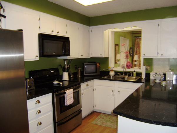 Tiny Condo Kitchen Update, This is a tiny kitchen that I gave a facelift on a major budget! I painted the kitchen walls & cabs, new countertops & hardware along with new appliances and fab fabric! Enjoy!, Kitchens Design