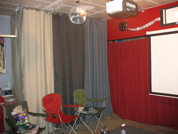 Garage Turned Party Room, I turned my garage into a movie theater/party room for my two boys., Chairs were replaced with 3 futons , Garages Design
