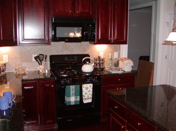Information about rate my space questions for for Cherry kitchen cabinets with black granite