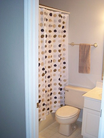 Gray and beige guest bath, Considering ways to add more towel racks, Bathrooms Design