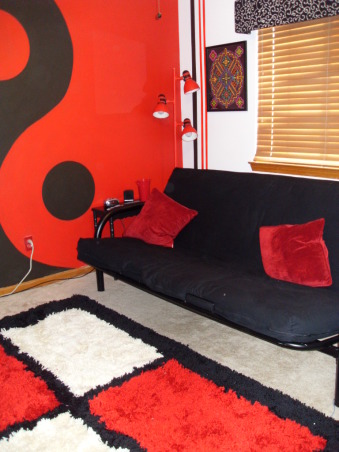 Pre-teen modern bedroom, Modern color splash boys space that will last for years., Futon used to give additional space. Black and red ying yang the highlight of the room hand painted with the help of a friend., Boys' Rooms Design
