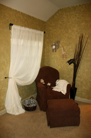 Traditional Safari Nursery, Neutral Safari Nursery for MacKenzie Lynne, Rocking corner.  The glider is done in a plush chocolate brown. The window treatment is a basic sheer fabric I quickly sewed a rod pocket into and swagged to the side.        , Nurseries Design